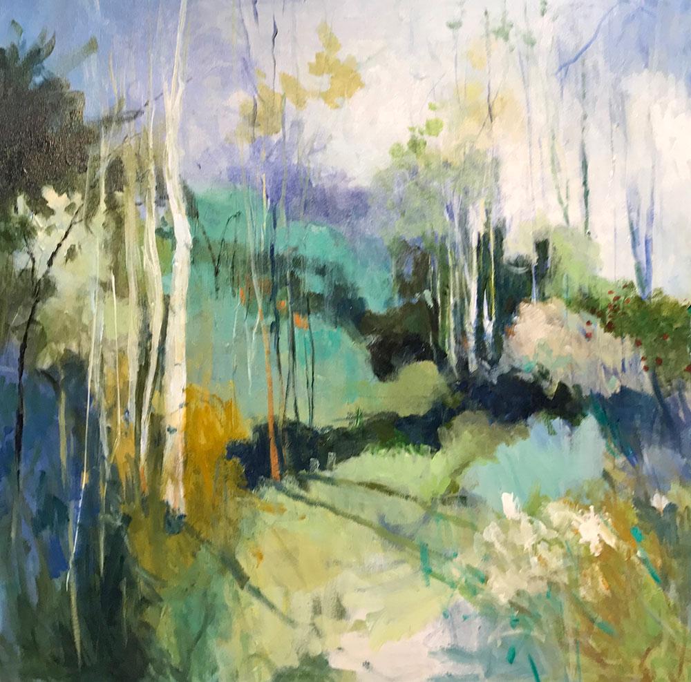 Green hues abstract landscape fine art giclee by ellen diamond