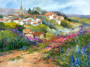 hillside village european landscape art ellen diamond