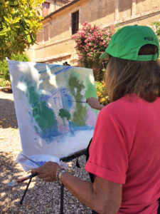 Ellen Diamond Painting Techniques Demonstration Tuscany 2017