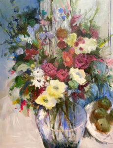 still life floral in vibrant color by artist ellen diamond